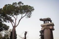 Standbeeld van de legende van Romulus en Remus door de wolf in Rome wordt gevoed dat royalty-vrije stock foto