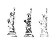 Standbeeld van de vector van de Vrijheidsschets Royalty-vrije Illustratie