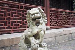 Standbeeld van een Chinese leeuw Royalty-vrije Stock Foto