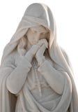 Standbeeld van een droevige vrouw die op wit wordt geïsoleerdm Stock Fotografie