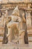 Standbeeld van een het dansen cijfer binnen de Brihadishwara-Tempel in Tanjore (Thanjavur) in Tamil Nadu - India stock foto's