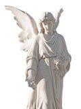 Standbeeld van een mooie engel die op wit wordt geïsoleerdr Stock Afbeeldingen