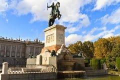 Standbeeld van Felipe IV. - Madrid Royalty-vrije Stock Foto's