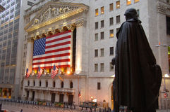 Standbeeld van George Washington op Wall Street Stock Foto