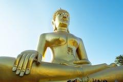 Standbeeld van gouden Buddah Royalty-vrije Stock Foto