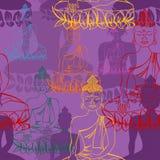 Standbeeld van het naadloze patroon van Boedha Stock Foto's