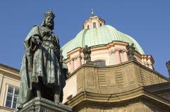 Standbeeld van Koning Charles, Praag, Tsjechische Republiek stock foto