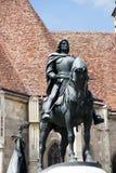 Standbeeld van Koning Mathias (Matyas) in Cluj, Roemenië royalty-vrije stock foto