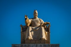Standbeeld van Koning Sejong Groot, Gwanghwamun Vierkant Seoel, Korea Stock Foto's