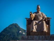Standbeeld van Koning Sejong Grote Gwanghwamun Vierkant Seoel, Korea Stock Foto