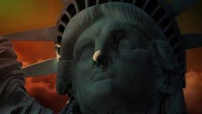 Standbeeld van Liberty Close met Scheur4k Lijn stock video