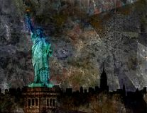 Standbeeld van Liberty Grunge Background Illustration Royalty-vrije Stock Fotografie