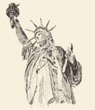 Standbeeld van Liberty Hand Drawn Engraved Sketch Stock Foto