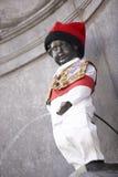 Standbeeld van Mannekin Pis in Brussel Stock Fotografie