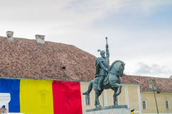 Standbeeld van Mihai Viteazul in Alba Iulia Stock Fotografie
