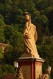 Standbeeld van Minerva op de Oude Brug in Heidelberg Royalty-vrije Stock Fotografie