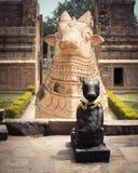 Standbeeld van Nandi Bull bij Hindoese Tempel. India Stock Afbeeldingen