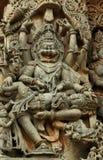 Standbeeld van Narasimha (Halebid, India) stock foto