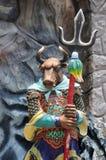 Standbeeld van os-hoofd bij de Villa van het Hagedoornpari in Singapore Royalty-vrije Stock Foto's