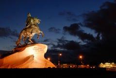 Standbeeld van Peter Great (heilige-Petersburg) Stock Afbeeldingen