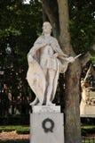 Standbeeld van Ramiro II, Koning van Leon op het oostelijke vierkant van Plaza DE Oriente in Madrid royalty-vrije stock foto