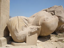 Standbeeld van Ramses 2 bij Ramesseum-tempel (hoofd) Stock Foto's