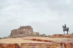 Standbeeld van Rao Jodha Stock Foto