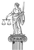 Standbeeld van rechtvaardigheid royalty-vrije illustratie