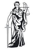 Standbeeld van rechtvaardigheid vector illustratie