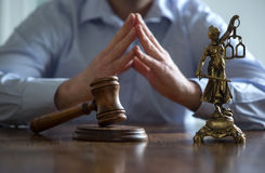 Standbeeld van rechtvaardigheid, Wetsconcept, stock foto's