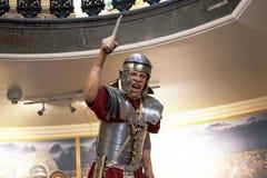 Standbeeld van Roman legionair met zijn Gladius of kort zwaard in Chester England royalty-vrije stock foto's