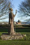 Standbeeld van St Aidan op Heilig Eiland, Lindisfarne, Nr Royalty-vrije Stock Fotografie