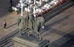 Standbeeld van telling Josip Jelacic op hoofdvierkant in Zagreb stock fotografie