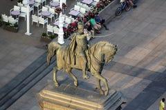 Standbeeld van telling Josip Jelacic op hoofdvierkant in Zagreb stock afbeelding