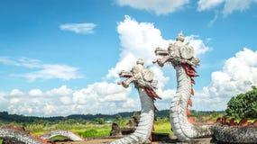 Standbeeld van tweelingdraak met mooie hemel als achtergrond in Pulau Kumala, Indonesië royalty-vrije stock foto