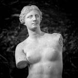 Standbeeld van Venus op een donkere achtergrond Stock Fotografie