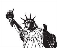 Standbeeld van Vrijheid & de Zonsondergang van de Stad van New York royalty-vrije illustratie