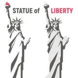 Standbeeld van Vrijheid & de Zonsondergang van de Stad van New York Het Oriëntatiepunt van New York Amerikaans symbool Vector bee Royalty-vrije Stock Afbeeldingen