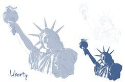 Standbeeld van Vrijheid met Amerikaanse vlag in de voorzijde Ontwerp voor four juli-viering de V.S. Amerikaans symbool Stock Foto's