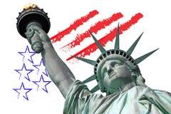 Standbeeld van Vrijheid met U S symbool royalty-vrije stock foto