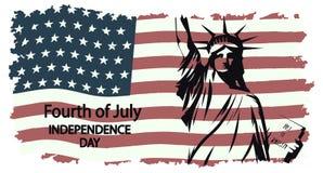 Standbeeld van Vrijheid tegen de achtergrond van nationale vlag van de V.S. in stijl grunge royalty-vrije illustratie