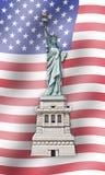 Standbeeld van Vrijheid - Verenigde Staten - Vlagachtergrond stock fotografie
