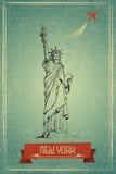 Standbeeld van Vrijheid voor Retro Reisaffiche Royalty-vrije Stock Afbeelding