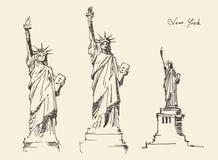 Standbeeld van Vrijheidshand getrokken wijnoogst gegraveerde illustratie Stock Foto