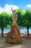 Standbeeld van William Tell bij promenade in Lugano Ticino Zwitserland Stock Fotografie