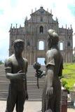 Standbeeld voor de Ruïnes van St Paul, één van m van Macao Royalty-vrije Stock Fotografie