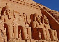 Standbeelden in Abu Simbel Royalty-vrije Stock Foto