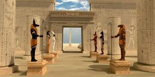 Standbeelden in de Tempel van Pharaoh Stock Afbeeldingen