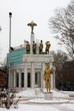 Standbeelden van Promethius en gevallen helden in Skopje Royalty-vrije Stock Foto