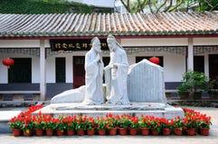 standbeelden van twee Chinese mandarins Royalty-vrije Stock Afbeeldingen